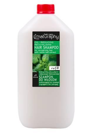 Rewitalizujący i zmniejszający przetłuszczanie szampon do włosów przetłuszczających się i normalnych z wyciągiem z liści pokrzywy 5L kanister